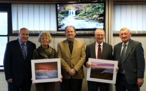 Councillor Geraint Hopkins, Councillor Glynog Davies and Councillor Evan Morgan present Mrs Julie James and Mr Martin Buckle with leaving gifts. © Brecon Beacons National Park Authority