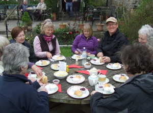 Some festivals arrange tea and cakes after the walk (Talgarth Walking Festival)