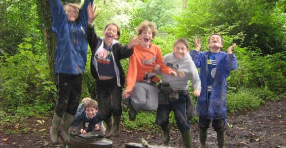 School group on educational visit to Craig-y-nos country Park
